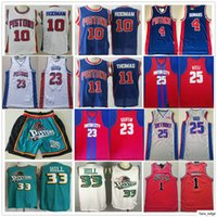 Ucuz Retro Mens Grant Hill Isiah Thomas Dennis Rodman Joe Dumars Derrick Gül En Kaliteli Basketbol Formaları