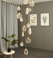 Moderno minimalista Penthouse Colgante Lámparas Piso Escalera Espiral Largo Creativo LED Araña Cristal Sala de estar Luces DHL