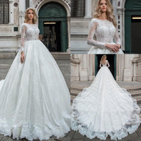 2019 New Princess A- Line Wedding Dresses Lace Appliques Illu...