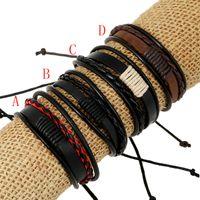 Pulseira de cordão de couro tecida artesanal coreano Mens Multi-camadas envoltório Pulseira ajustável Pulseira Para mulheres Moda DIY Presente Da Jóia
