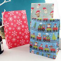 Frohe Weihnachten Papiertüte Schneeflocke Sankt-Weihnachtsbaum-Food-Plätzchen-Geschenk-Verpackungs-Beutel-Geburtstags-Party Favor Ständer Taschen Candy Bag DBC VT1108