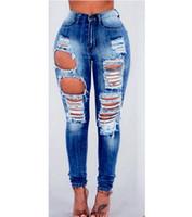 New MIX Juniors Jeans Mulheres Pant cintura alta Azul Denim jeans stretch magro rasgado Calças afligido