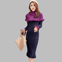 179a880bf5 Wholesale sweater dress for sale - High quality luxury Elegant Turtleneck  Long Knitted Sweater Dress Winter