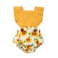 Criança bebê menina girassol Romper Jumpsuit Outfit Set Sunsuit roupas