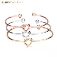 2021 Gold plattiert für immer Liebe Knoten Infinity Armband für Frauen Mädchen Armreif Offene Manschette Brautjungfer Armbänder