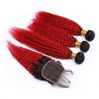 Afro Kinky Curly Ombre Cheveux Rouges Avec Fermeture De Dentelle Péruvienne Vierge Extensions De Cheveux Avec 4x4 Fermeture De Dentelle Extensions de Cheveux Malaisiens 8a Grade