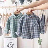 Bebé camisas de tela escocesa de los niños muchachas de los muchachos de manga larga algodón de las tapas gira el collar abajo de la blusa de cuadrícula camiseta ocasional del niño Boutique Caballero CYP624 Traje