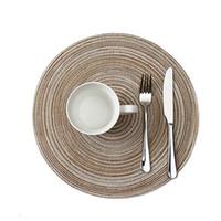 SıCAK Yuvarlak Dokuma Placemats Yemek Masası için Isıya Dayanıklı Silinebilir Placemat kaymaz Yıkanabilir Mutfak Yeri Paspaslar Tatil Partisi için masa ped