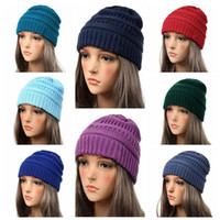 25 Colors Adults Knitted Hats Winter Knitted Slouchy Skull C...