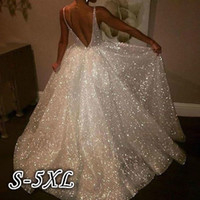 Party Evening Dress Women White Wedding Dress Deep V-Neck Spaghetti Strap Backless Dresses Thin Sexy Sleeveless Long Dresses