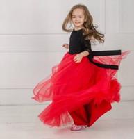 Neue schwarze und rote Prinzessin Pageant-Spitze-Tulle-Blumen-Mädchen-Kleid-Kind-Partei-Geburtstags-Abschlussball-Kinder-Ballkleid-CG01