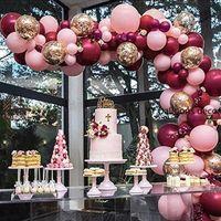 102пк латексные шары Рождество розовый бордовый воздушными шарами гирлянды арки комплект конфетти свадьба день рождения Душа ребенка юбилей украшения партии
