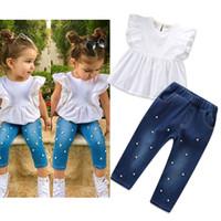 2PCS طفل طفل طفلة الملابس الصلبة القطن الكتان معطلة الكتف كم أعلى قميص سروال جينز ممزق مع اللؤلؤ الزي 3-8Y