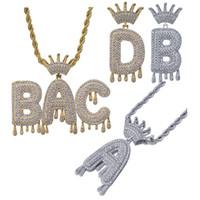 Retro Crown Blase Initialen Custom Name Anhänger Kette Halskette KubikZircon weißes Gold 18K Gold überzogen für Männer und Frauen en gros