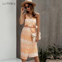Abiti casual Lossky Dress in cotone Dress da donna stampato Slip Slip Sundress Sexy Backless con scollo a V Slitta senza maniche Boho Bella spiaggia Vestiti 2021 Eleg