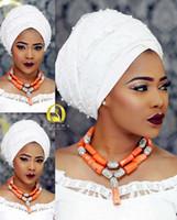 Mujeres de la moda de Coral Beads Africanos Collar Conjuntos de Joyas Nigeriano Banquete de Boda Conjunto de Joyas CG001 C18122701