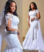 Tamaño más vestidos de boda de Arabia Apliques perlas africanas Ilusión largo mangas vestido de novia sirena Vestidos de novia en capas de la vendimia