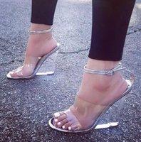 Горячая распродажа-с коробкой размером от 35 до 42 сексуальные лодыжки золотые каблуки серебряные прозрачные каблуки свадебные туфли