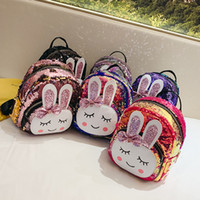 Cartoon Sequin Rabbit Shoulder Backpacks Cute Mini Gradient ...