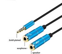 2 en 1 mujer al transductor de audio para auriculares línea masculina cable adaptador combinado cable de audio divisor de audio 3.5 para micrófono del auricular