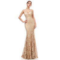 100% Real Picture Gold Elegant Mermaid Lace Deep V- Neck Prom...