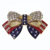 골드 도금 크리스탈 에나멜 아메리칸 플래그 Bowknot Pin Brooch 베테랑 쥬얼리 캠페인 브로치