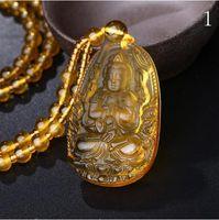 citrino naturale di alta qualità intagliato statua di Buddha felice amuleto ciondolo collana donne gioielli di guarigione forza cristallo aura degli uomini