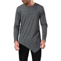 Stilvollen Männer-T-Shirts der Männer Designer Unregelmäßige T-Shirt Herbst-Frühlings-Art und Weise O-Ansatz T-Stücke langärmelige Grund Tops