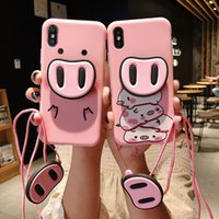 Round Pig Phone Case for iPhone X XS Max XR Cute 3D Cartoon ...