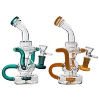 "6. 5"" Glass Bong Water Pipe Dab Rig with glass bowl recy..."