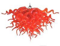 مصابيح أنيقة أضواء قلادة حمراء قلادة صغيرة الصمام الخفيفة الثريا 100٪ الفم في مهب البورسليكات الفن مورانو الزجاج الثريات