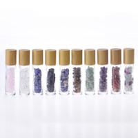10ML Parfum vide Bouteille en verre de rouleau avec couvercle en bambou Nature Cristal Jade Huile Essentielle Bouteilles d'emballage avec pierres précieuses rouleau à billes