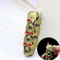 2 en 1 Créatif rechargeable Lighters Eductionnelle à coupe-vent Butane Gaz Cigarette Briquet De Jet Squelette Squelette Squelette avec Couteau En plein air Cuisine BBQ