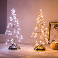 Crystal LED LED Christmas Tree Light Table Desk Lamp Fata Soggiorno Night Lights decorativi per la casa Bambini Regali di Capodanno 2019