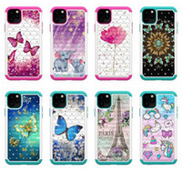 Diamond Flower papillon dentelle hybride Armure dur PC + TPU anti-choc pour l'iphone 11 pro max XR XS MAX 6 7 8 PLUS Samsung S20 Ultra S10