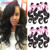 Glamoureux Péruvien Malaisien Indien Brésilien Vierge Vierge Vague Corps 4 Funle 8-34inches Plein Cuticule 100% Remy Cheveux Tisseux pour femmes noires