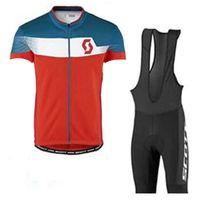 Scott equipo hombres ciclismo jersey babero pantalones cortos traje de verano transpirable seco rápido manga corta ropa deportiva conjunto de trajes de bicicleta