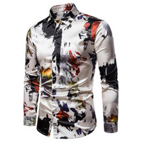 Mens Slim Fit Langarmhemd 2019 Brand New Vintage Print Seidensatin Hemd Männer Casual Button Down Dress Shirts Camisas Hombre