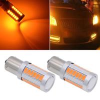 2X Ámbar 1156PY BAU15S PY21W LED 33SMD Lámpara de freno de cola del coche Bombillas de señalización inversa Luces de freno Lámpara de marcha atrás automática Luz diurna