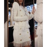 Nieuwe Casual Style Top Kwaliteit Originele Design Dames Tweed Korte Jas Blazer Double-Breasted Raw Edge Tassel Jas Uitloper