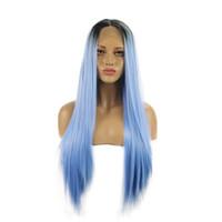Lange gerade Ombre blau wärme sichere Faser Haar Lace Front Perücke volle Dichte lange gerade Perücke für afroamerikanische Frauen