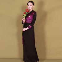 Donne Stage Wear Abbigliamento da ballo in tessuto di alta qualità Costumi etnici Elegante Set Elegante Tibetano Vestito estivo Classico Abbigliamento per prestazioni nazionali classiche