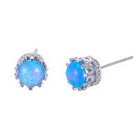 Luckyshine 6 Pairs / Lot La joyería más nueva del regalo de la madre Europa Redonda azul azul del ópalo de fuego Piedra preciosa 925 Pendientes de boda plateados del perno prisionero