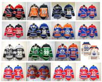 Old Time Hoodie Hockey Jersey 99 Wayne Gretzky Edmonton Oilers Mike Breett Brett Hull Martin Brodeur Brian Leetch Los Angeles Reis Pulôver
