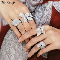 choucong Charm Flower Leaf Ring Mrico Pave 166pcs 5A Zircon ...