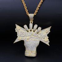 2019 nouveau 14k Gold CZ Cubic Zirconia US Dollar Monnaie en Main Hommes Collier Vraiment riche Designer de luxe HiPhop bijoux cadeaux pour les gars à vendre