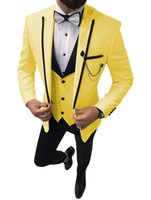 Slim Fit Yellow Groom Tuxedos Peak Lapel Groomsman Wedding 3 Piece Suit Fashion Men Business Prom Jacket Blazer (Chaqueta + Pantalones + Corbata + Chaleco) 2862