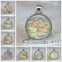 جديد غلوب قبة قلادة خريطة العالم الأرض قلادة الزجاج سلسلة مجوهرات فنزويلا خمر خريطة اليدوية قلادة