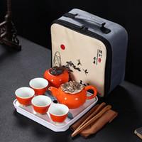 1 vasetto 4 tazze di viaggio portatile di tè in ceramica set di funzioni personalizzate servizi da tè Un cachi a forma di strumento tè doni creativi 2020 il trasporto libero