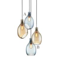 Luces colgantes de vidrio simple MODER MODER MINIMALISTA LED Bar Comedor Lámparas colgantes Decoración del hogar Iluminación E27 AC110-220V Luminaria